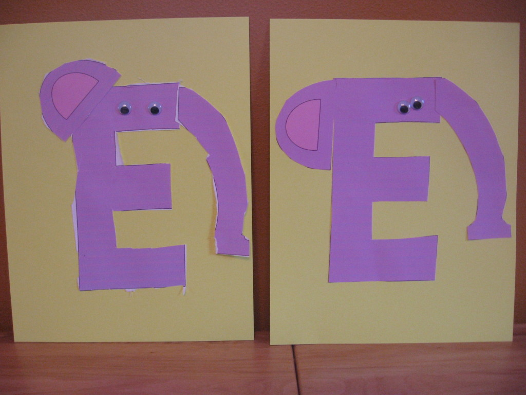 elephant cut and paste 1024x768 Letter E craft ideas