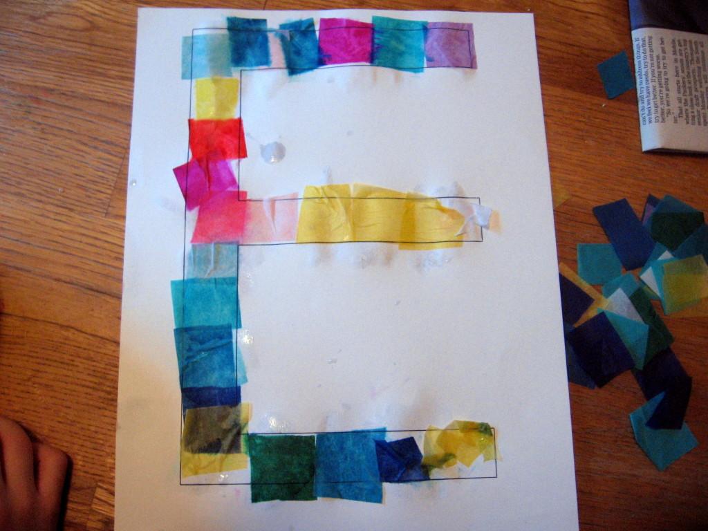 tissue paper block letter E