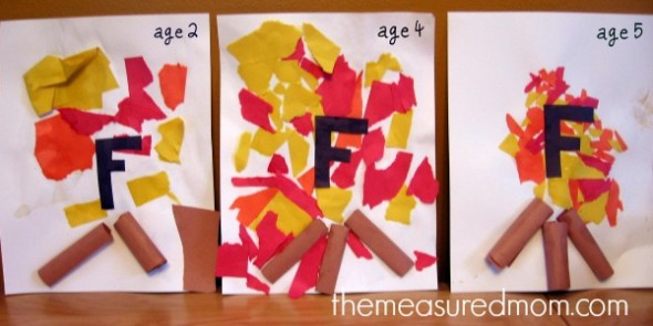 letter F torn paper fire