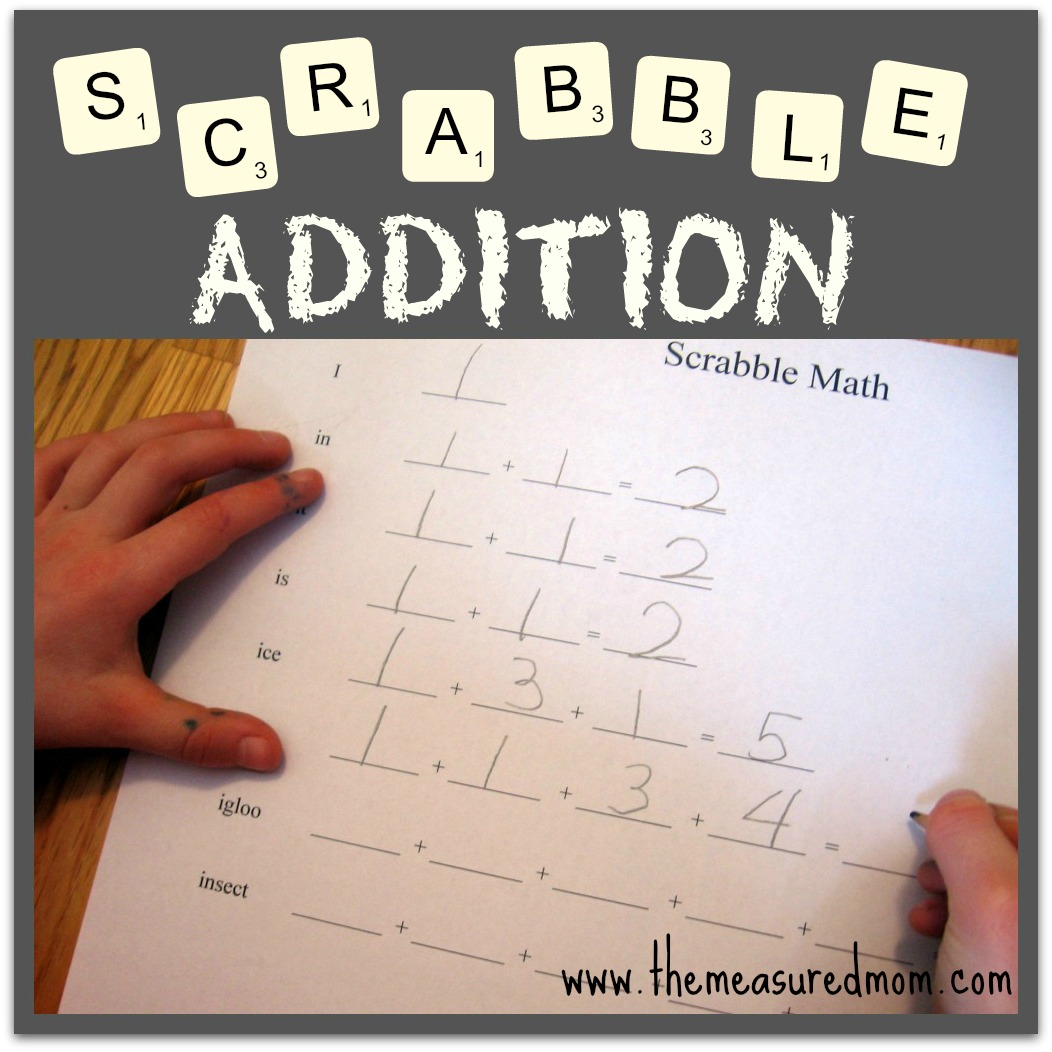 Check out this easy addition game using Scrabble tiles! Use it with your  child's spelling
