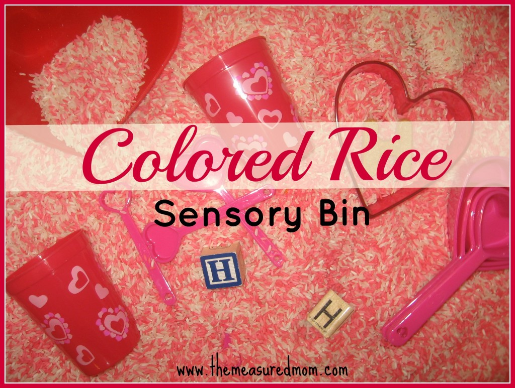 colored rice sensory bin