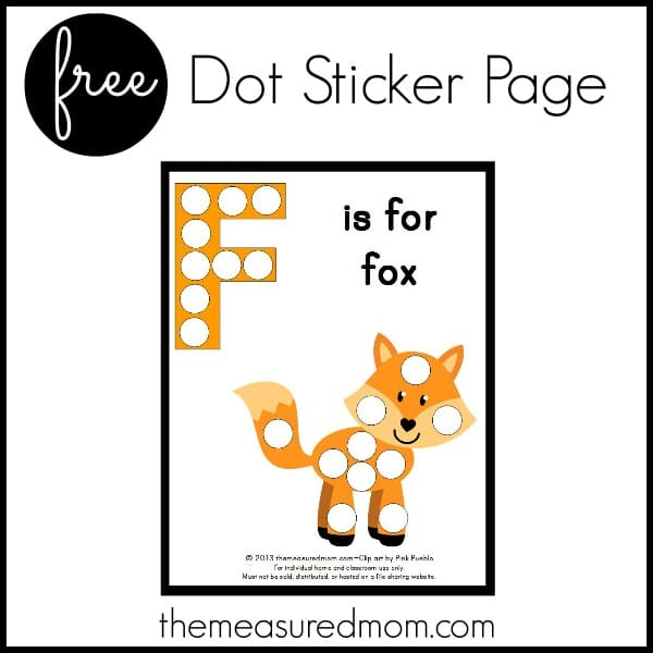 free dot sticker page letter F the measured mom Letter F printable   F is for Fox