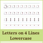 letters on 4 lines lowercase 150x150 Free Printables