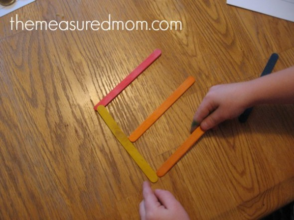 letter E with craft sticks
