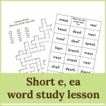 short e ea word study lesson 150x150 Free Printables