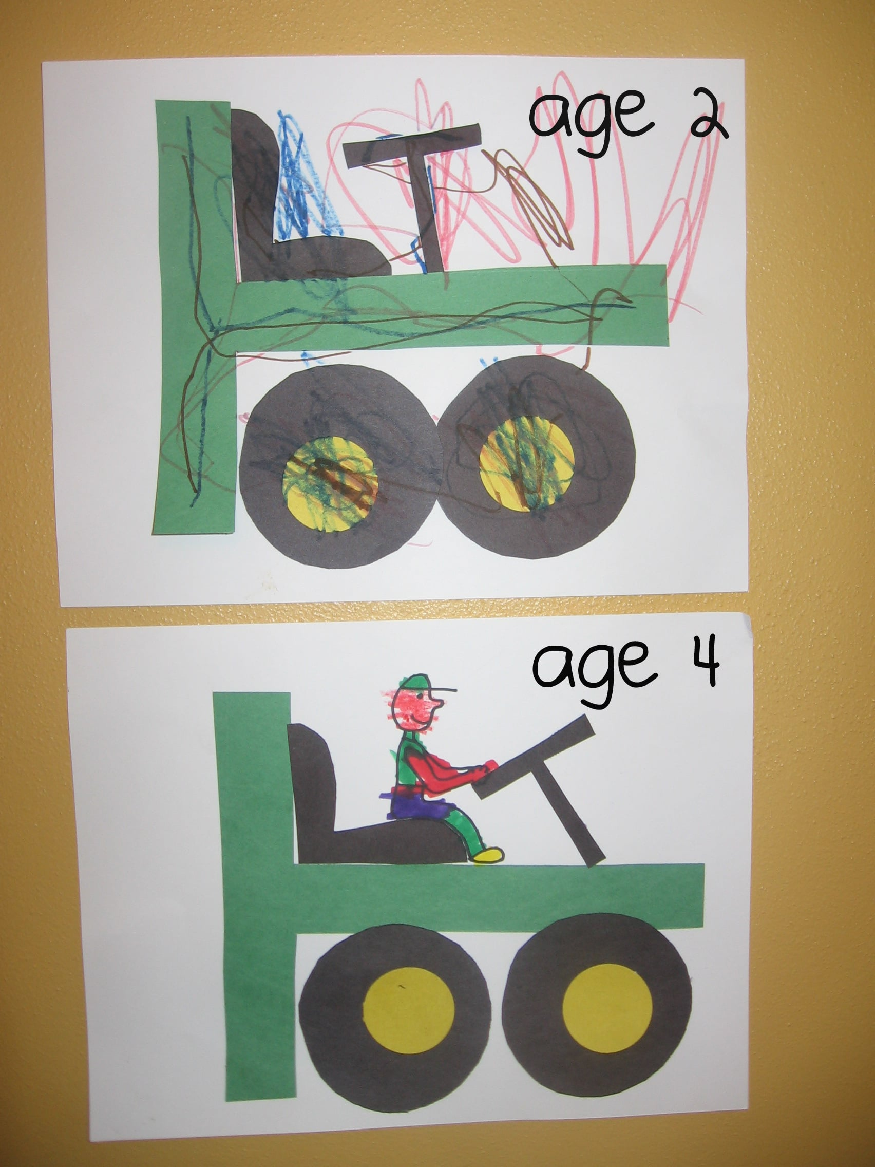 Preschool crafts for letter t the measured mom for Tractor art projects