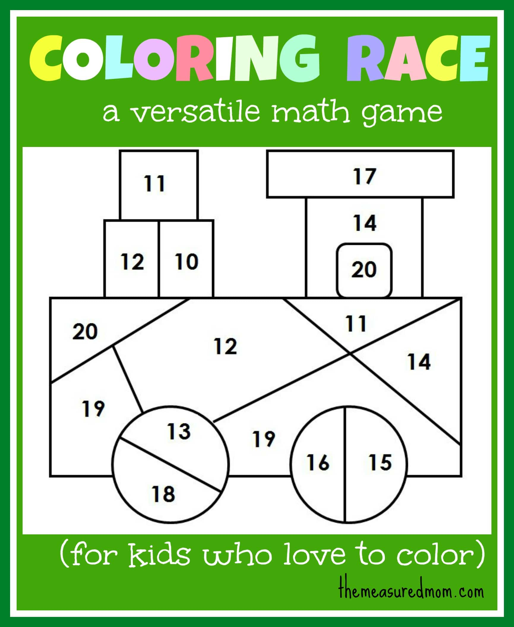 Colouring for kids games - Math Game For Kids Coloring Race Combines Math And Coloring The Measured Mom