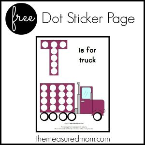 Free Letter T Printable: T is for Truck