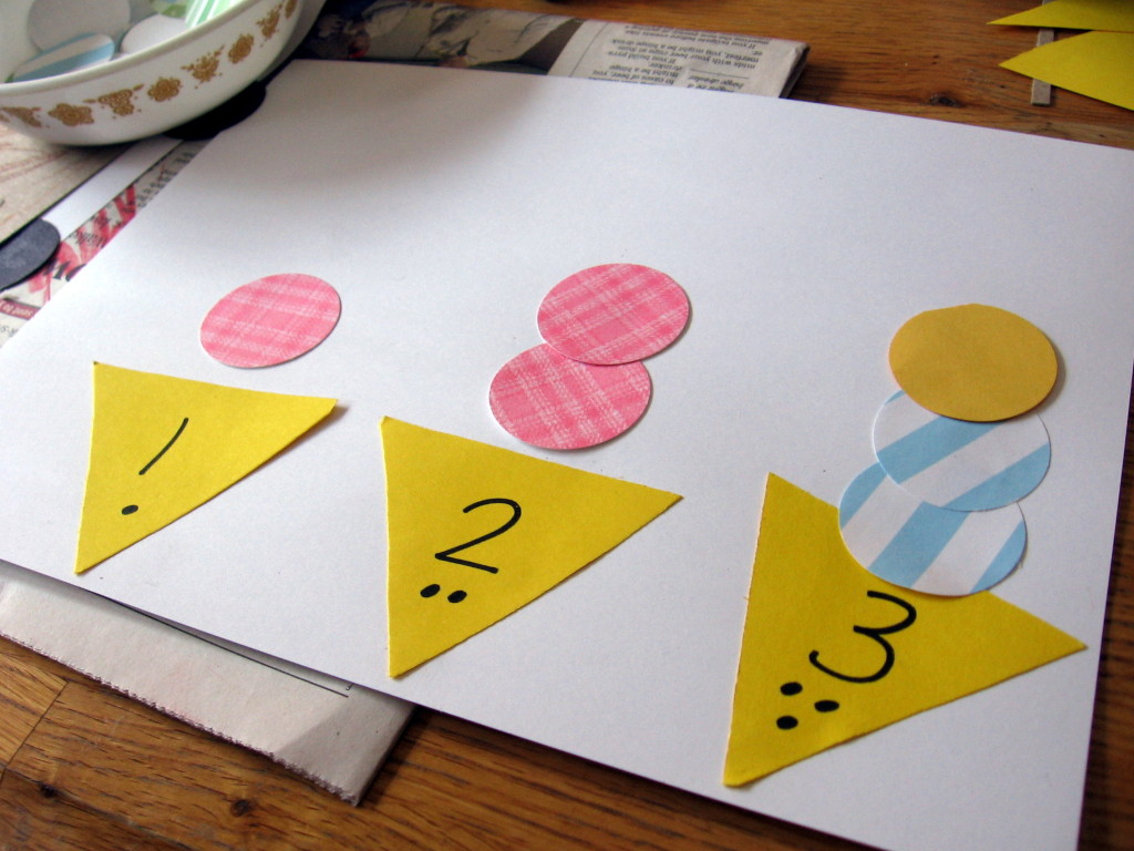 ice cream counting 1024x768 Hands on Math for Preschool: The Letter I