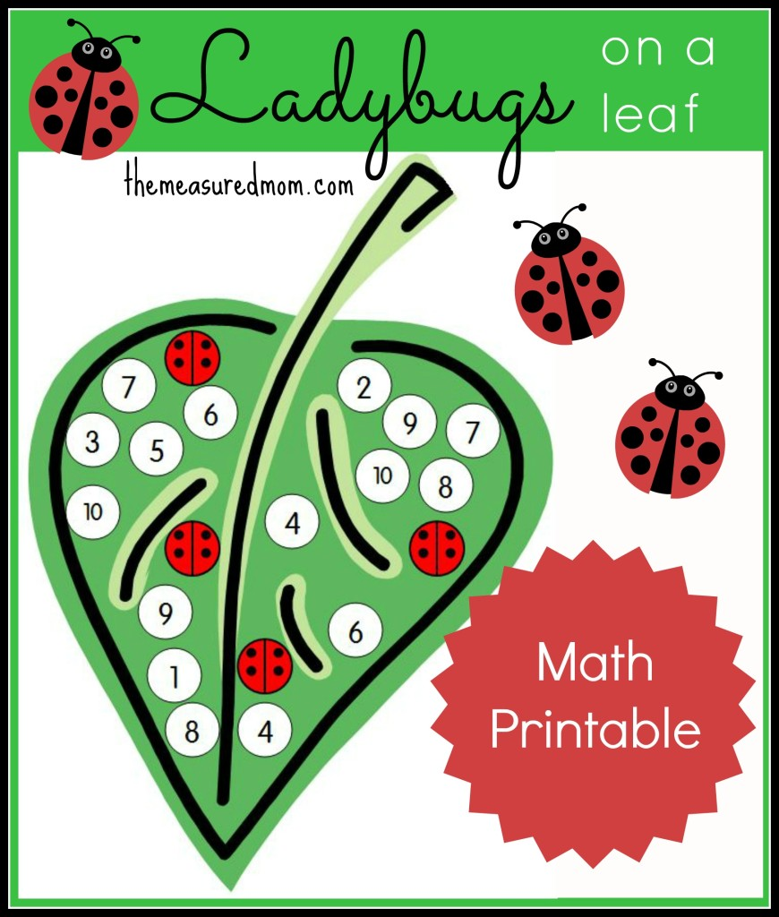 Here's a fun number recognition activity -- cover the numbers on the leaf with ladybug stickers. Get your free printables!