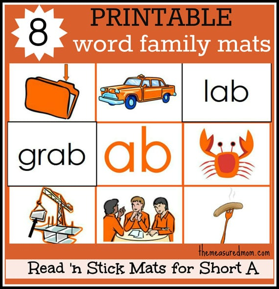 Short A Word Family Mats - printable! - The Measured Mom