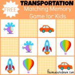 Free Memory Game for Kids transportation the measured mom 150x150 Free Printables