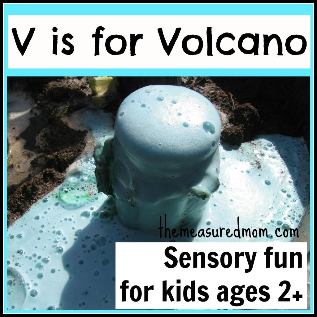 V is for Volcano Sensory Play - the measured mom
