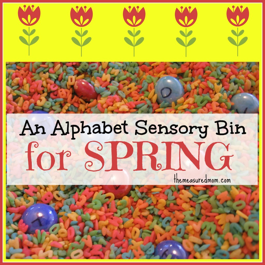 alphabet sensory bin for spring - the measured mom
