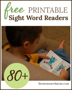 free printable sight word readers 80+