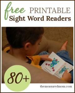 free printable sight word readers 80+