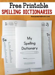 free printable spelling dictionaries for kids