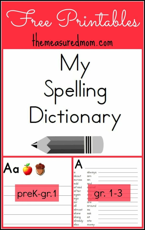 Printable spelling dictionary for kids the measured mom for One dictionary