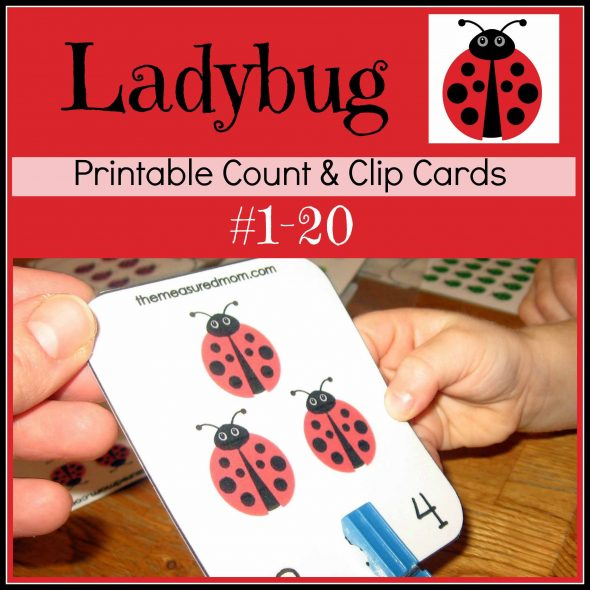 ladybug count clip cards the measured mom0351 590x590 Printable Counting Activity for Preschoolers: Ladybug Count & Clip Cards