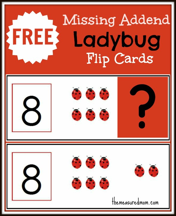 missing addend flip cards (ladybugs) - the measured mom048
