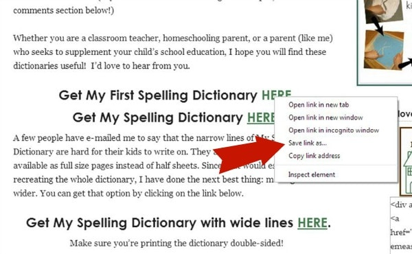print spelling dictionary 1