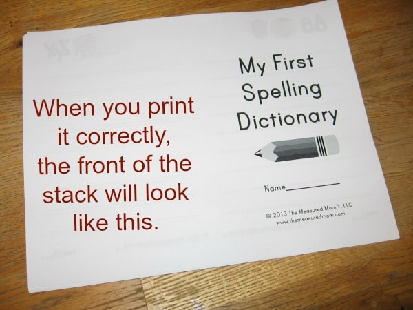 print spelling dictionary 5