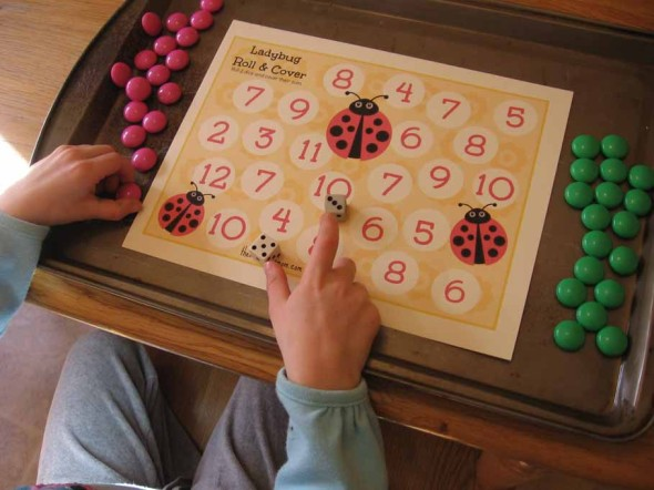 This free roll and cover game is such a fun ladybug math activity!