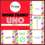 Free Word Family Uno short a the measured mom 150x150 Free Printables