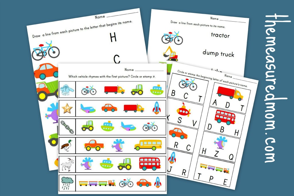 Measured Mom transportation literacy worksheets 1024x682 Transportation Worksheets for Preschool   20 free pages of Literacy and Math