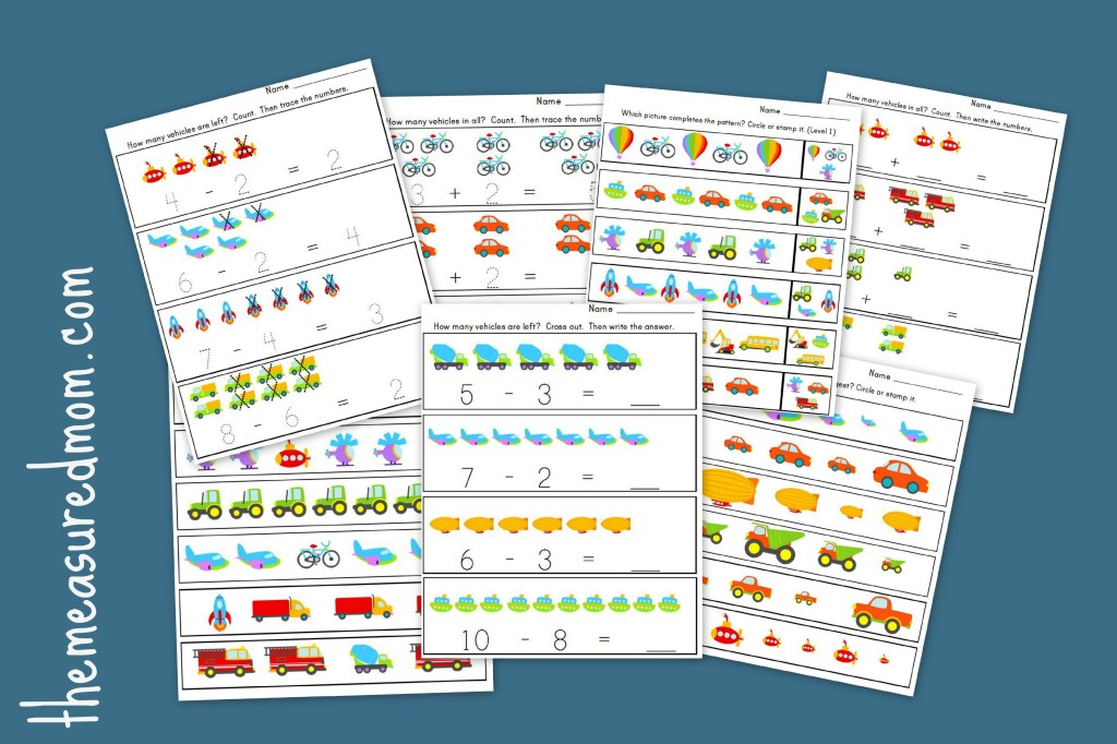 Measured Mom transportation math worksheets 1024x682 Transportation Worksheets for Preschool   20 free pages of Literacy and Math