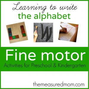 fine motor activities for preschool and kindergarten 300x300 Learning to write the letter X: 13 ideas for preschool practice (and 3 free handwriting practice sheets)