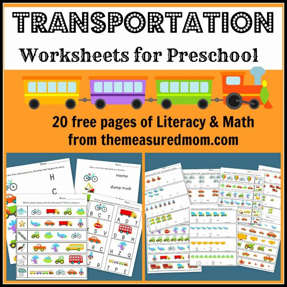 free transportation worksheets for preschool - the measured mom027