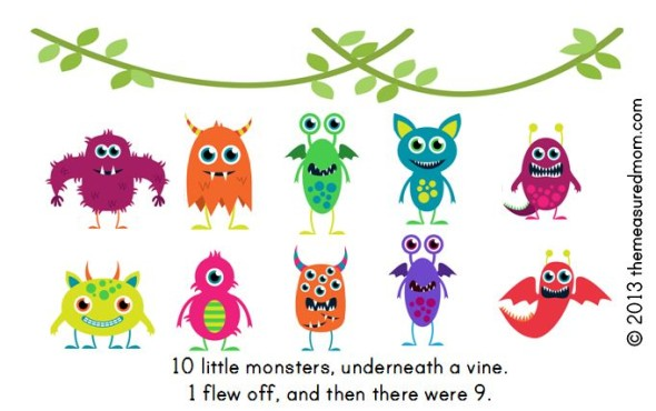 monster book1 590x370 Free Printable Book for Early Readers: Ten Little Monsters