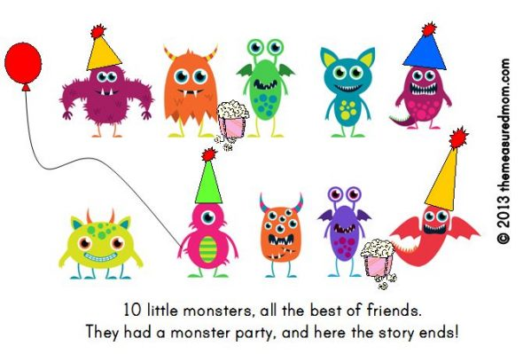 monster book11 590x399 Free Printable Book for Early Readers: Ten Little Monsters