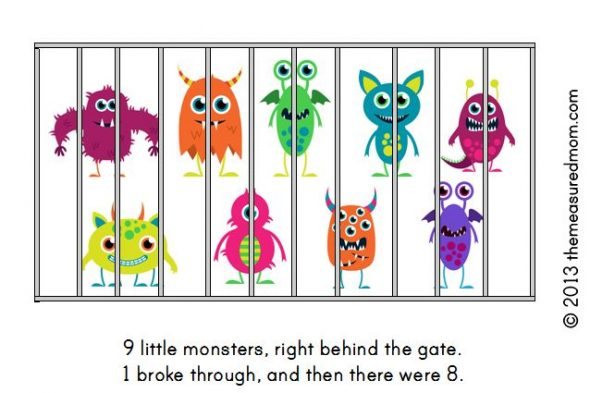 monster book2 590x393 Free Printable Book for Early Readers: Ten Little Monsters