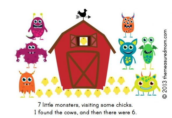 monster book4 590x405 Free Printable Book for Early Readers: Ten Little Monsters