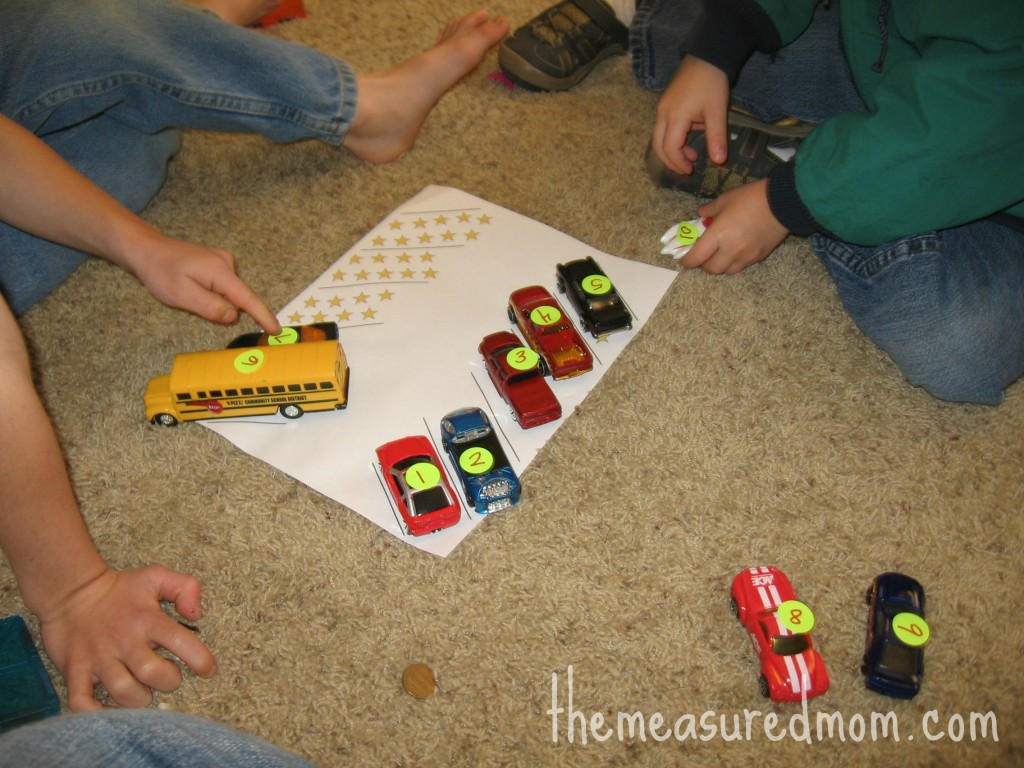 preschool math with toy vehicles 2 1024x768 8 Preschool Math Ideas    using toy vehicles!