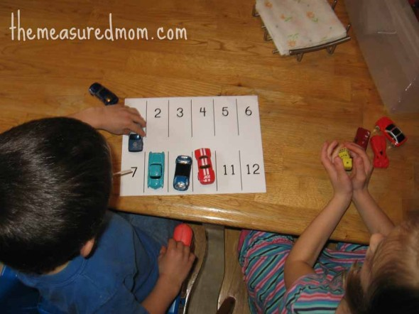 preschool math with toy vehicles 4058 590x442 8 Preschool Math Ideas    using toy vehicles!