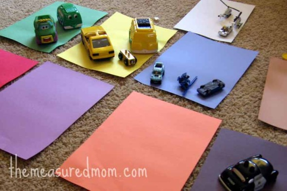 preschool math with toy vehicles 5059 590x393 8 Preschool Math Ideas    using toy vehicles!