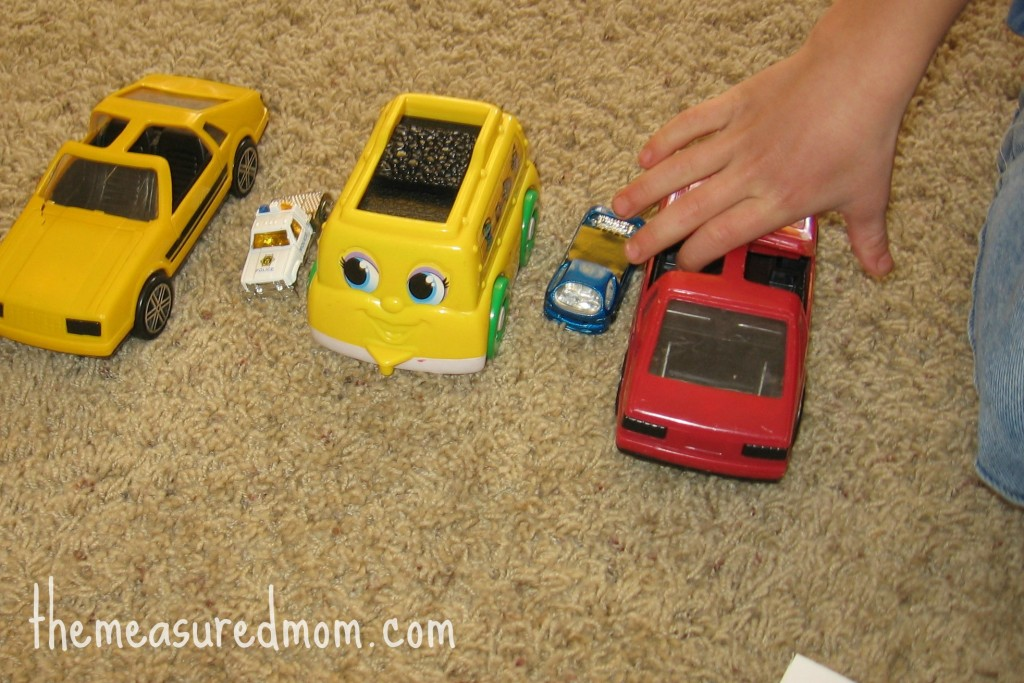 preschool math with toy vehicles 6 1024x683 8 Preschool Math Ideas    using toy vehicles!