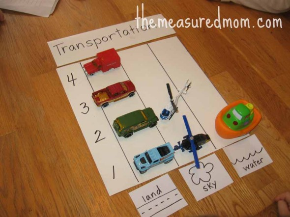 preschool math with toy vehicles 80621 590x442 8 Preschool Math Ideas    using toy vehicles!