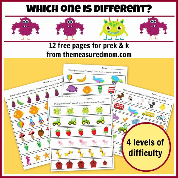 which one is different - 12 free pages for preK and K - the measured ...