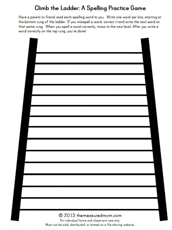 climb the ladder: a spelling practice game printable