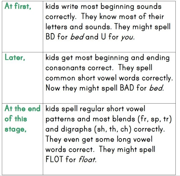 letter name alphabetic 590x576 How Do Kids Learn to Spell? (Word Study, Part 2)