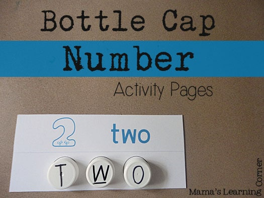 Bottle Cap Number Activity Pages Make your own easy and beautiful milk cap letters   for tons of learning fun!
