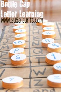 bottle cap learning 200x300 Make your own easy and beautiful milk cap letters   for tons of learning fun!