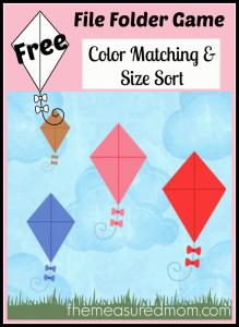 Free file folder game for preschoolers: Kites!