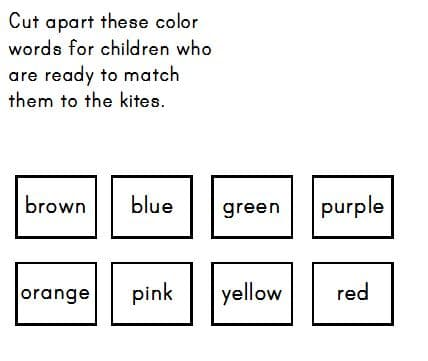 free kite file folder game - color matching and size sort