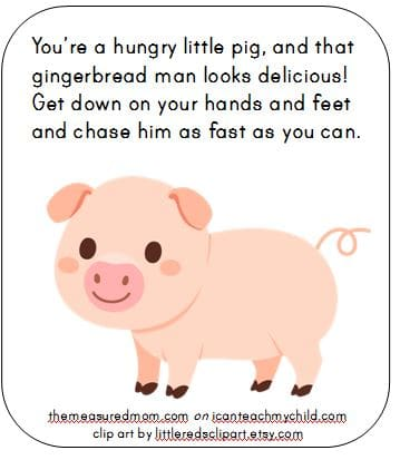 pig action card - i can teach my child