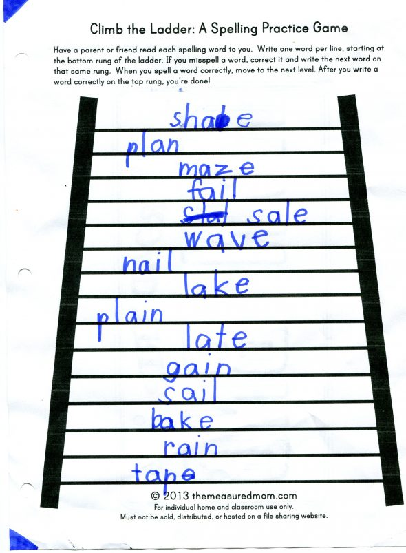 climb the ladder the measured mom 590x803 Make spelling fun   use word sorts and games for a hands on lesson (short a, a consonant e, ai)